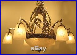 Breathtaking French Art Deco Chandelier 1925 Signed Schneider Very Rare