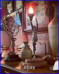Bronze Art Deco Lady Lamp with original Ruby Glass Shade