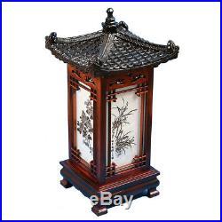 Carved Wood Art Home Deco Lantern Brown Square Bedside Bedroom Table Lamp Light