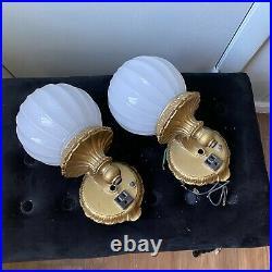 Cast Metal Gold Wall Sconce Lamp Fixture Light Craft Of California Art Deco Pair