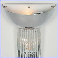 Chrome Fluted Glass Rods Pilar Art Deco Cinema Wall Light Sconce Lamp Uplight