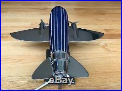 Cobalt Blue Glass Art Deco Airplane Desk Lamp