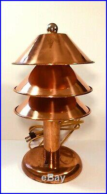 Copper Table Lamp Domed Machine Age Art Deco Industrial Rayon Cord Vintage