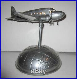 DC-3 Airplane Over the Earth Art Deco aluminum lamp 120 volt made in USA