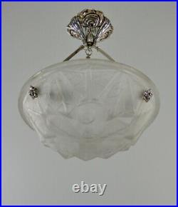 DEGUE FRENCH 1930 ART DECO CHANDELIER. Lustre lamp suspension lampe
