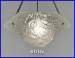 DEGUE FRENCH 1930 ART DECO CHANDELIER PENDANT WITH BOWL. Lamp muller era