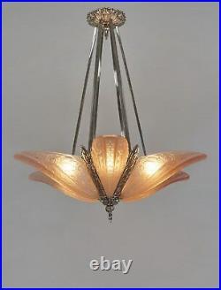 DONNA FRENCH 1930 ART DECO STARBURST CHANDELIER. Lamp muller era 1925