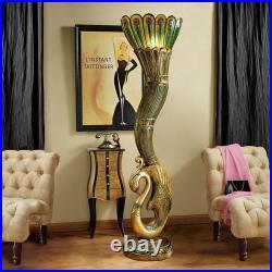Design Toscano Art Deco Peacock Sculptural Floor Lamp