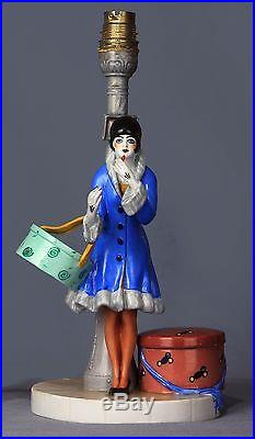 Dressel Kister Art Deco Flapper Porcelain Figurine Half Doll Figural Lamp Box
