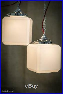 Early 20th Century Original Art Deco Cube Opaline Pendant Lights