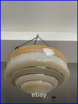 Early c20th Art Deco Flycatcher Glass Ceiling Light Lamp Shade With Chains