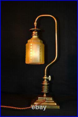 Edwardian French C1910 bronze street Gas light desk lamp handmade art deco shade