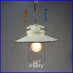 Emailleschirm Glaskolbenlampe Deckenlampe Art Deco Hängelampe Antike Hoflampe