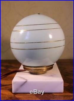 FAB Vintage French Art Deco Marble Table Lamp Light Spelter Bird & Gilded Shade