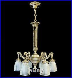 Fabulous 1930s French ART DECO Six-Arm Nickel Bronze Chandelier