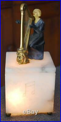 Fabulous Rare Art Deco Square Marble Lamp Night Light With Woman Playing Harp