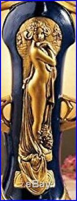 Figural Lamp Deco Art Nouveau Glass Shade Gold Lady Figure Statue Table Top Desk