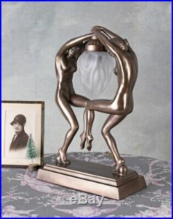 Figürliche Tischlampe Art Deco Stil Tischleuchte Frauenakt tanzende Nymphen neu