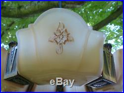 Fine Art Deco Bronze Markel Elect Prod 1930's Slip Shade Chandelier Lamp Fixture