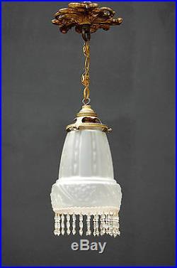 Fine Art Nouveau Glass Lamp french 1900 parisian antique deco crystal bronze