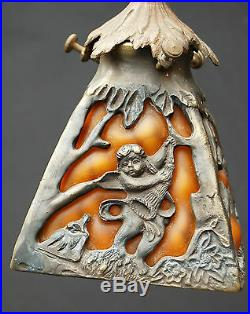 Fine Art Nouveau Glass Lamp french 1910 parisian antique deco pate verre bronze