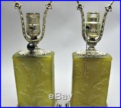 Fine Pair of STEUBEN YELLOW JADE Acid-Cut-Back Lamps c. 1920s antique art glass