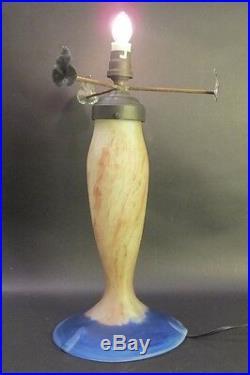 Fine Signed French Art Deco Art Glass Lamp Le Verre Francais c. 1920s antique