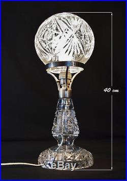 Fine quality 1940s Art Deco Heavy cut glass lamp globe shade & original fittings