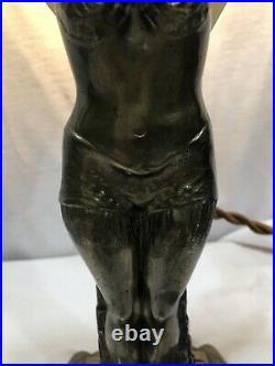Flapper Girl Art Deco Bronze Spelter Table Lamp Eqyptian Revival 1930 Slag Glass