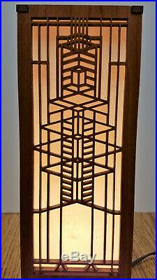 Frank Lloyd Wright mini WOODEN LIGHTBOX laser cut Art Deco accent lamp light