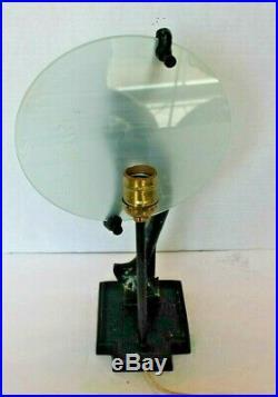Frankart Art Deco Sarsaparilla Nymph Silhouette Black Metal Table Lamp