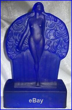Frankart Sally Rand nude feather nymph cobolt blue glass art deco lamp body