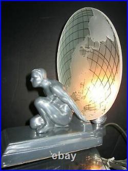 Frankart Sarsaparilla art deco Atlas & earth shade lamp polished aluminum USA