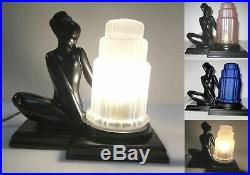 Frankart art deco fish face nymph table lamp black in metal and glass USA