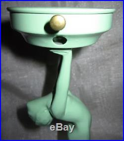 Frankart art deco standing lamp body with up stretched arms green not wired USA