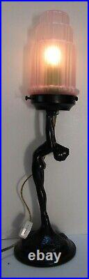 Frankart art deco standing lamp with up stretched arms black finish & glass USA