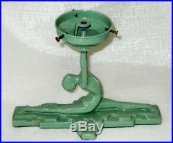 Frankart style NuArt art deco lamp base Nymph doing a split in green USA made