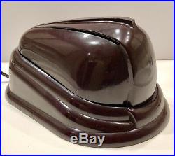 French Art Deco JUMO Bolide Brown Bakelite 1945 STREAMLINED Table Lamp