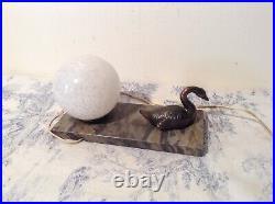 French Art Deco Marble Base Desk Table Lamp Light Swan (2013)