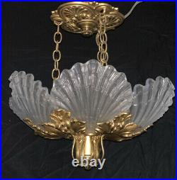 French Art Deco Nouveau Shell Frosted Glass Slip Shade Chandelier Lalique Style