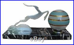 French Art Deco Silver Antelope Marble Table Lamp Glass Ball Shade