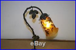 French Art Deco Style Handmade Bronze Table Lamp /galle Style Glass Shade #2