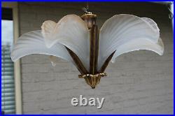 French art deco 6 glass shell chandelier pendant lamp 1950