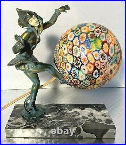 Gerdago Antique ART DECO Pixie, Harlequin Figural Lamp withMillefiori Glass Shade