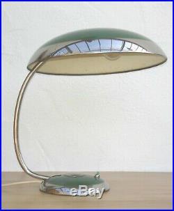 Große XXL. Art Deco Chrom / Grün Schreibtischlampe um 1935 50