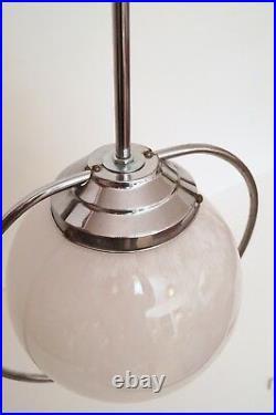 Große original Art Deco Bauhaus Sputnik Deckenlampe 1930 Chrom 112 cm