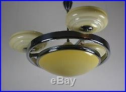 Grosse Art Deco Bauhaus Deckenlampe Chrom