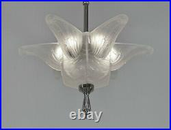 HANOTS French 1930 art deco pendant chandelier. Lamp muller degué era France