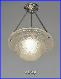 HETTIER VINCENT & BACCARAT FRENCH ART DECO PENDANT. Chandelier lamp muller