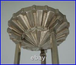 HETTIER & VINCENT rare French 1930 art deco chandelier. Lamp France
